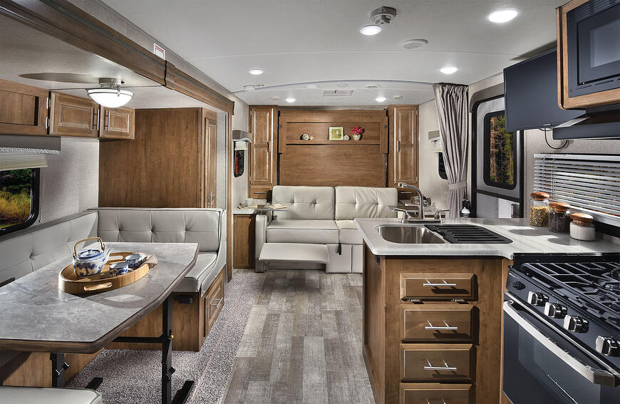 The interior of the 2020 Rockwood Mini featuring a dinette