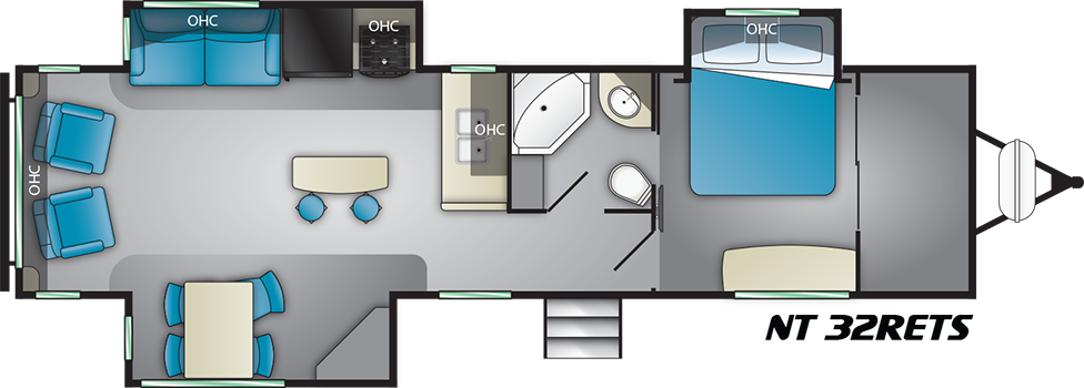 Floorplan of Heartland North Trail 33RETS with king bed