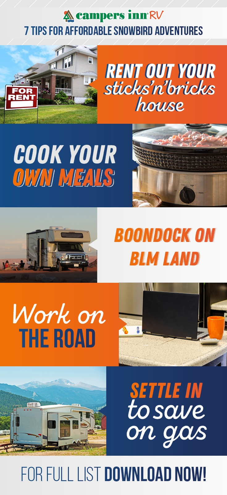 Learn how to save on your snowbird trip by boondocking on BLM land, cooking your food and more