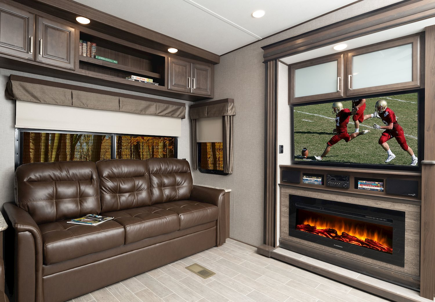 keystone avalanche fifth wheel common area with fireplace