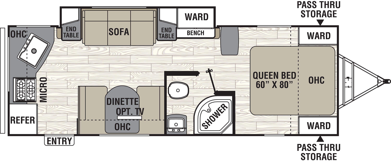 246RKSCoachmen Freedom Express 246RKS floorplan with rear kitchen