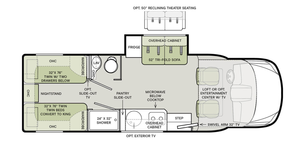 The floorplan of the 2020 Tiffin Wayfarer 24TW featuring a tri-fold sofa and a 6 cubic foot fridge.