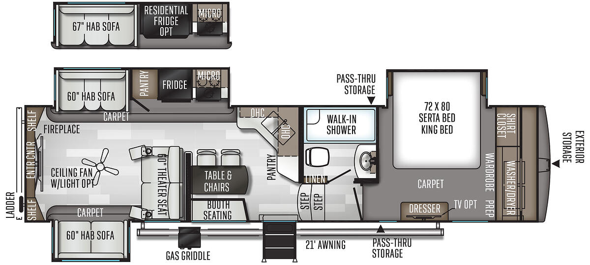 The floorplan of the 2020 Rockwood Ultra Lite 8298KS.