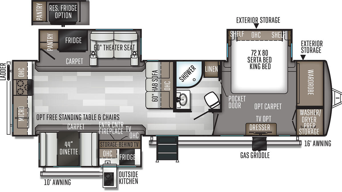 The floorplan of the 2020 Rockwood Mini Lite 8332SB