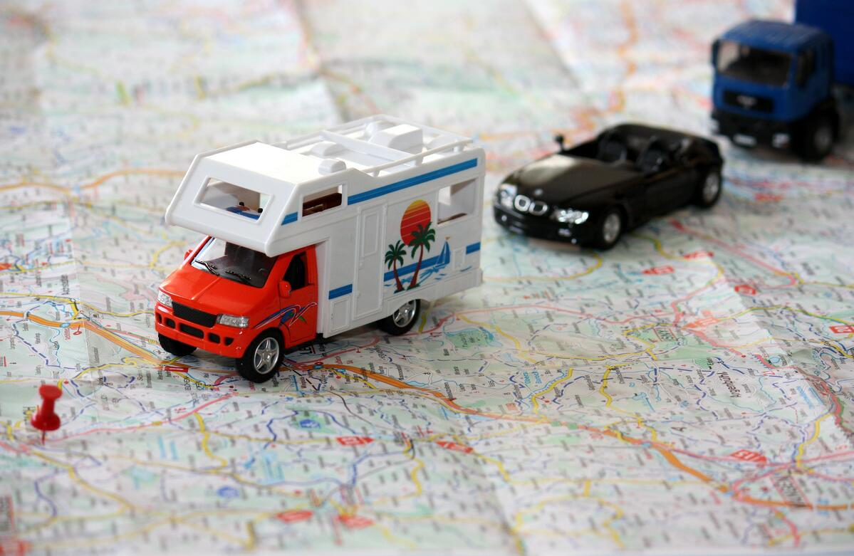 Cars and Motorhomes on a Map