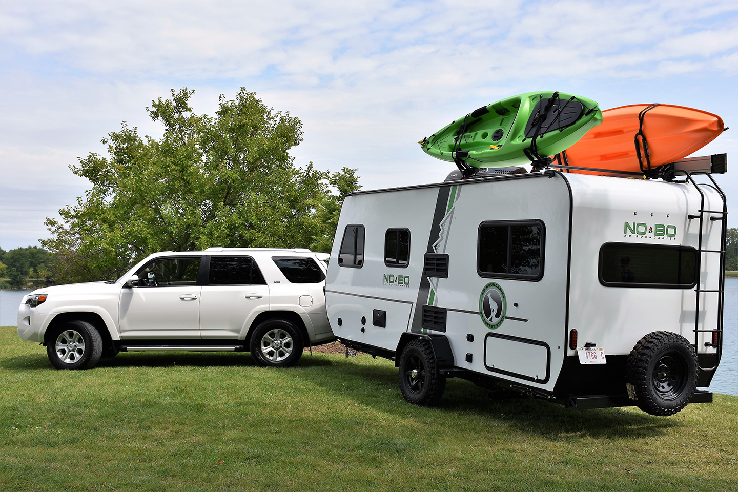 While most RVs requires a pickup truck to tow, some lightweight ones can be towed by large SUVs