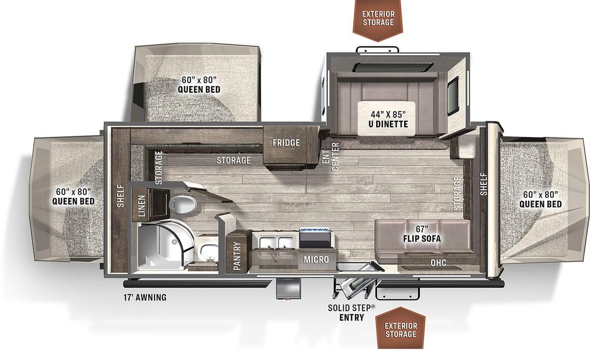 Floorplan of 2021 Forest River RV Rockwood Roo 233S