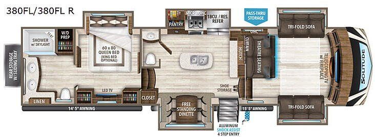 This is the floor plan of the 2020 Grand Design Solitude 380FL-R. The fifth wheel has a front living room for a comfortable at home feel.