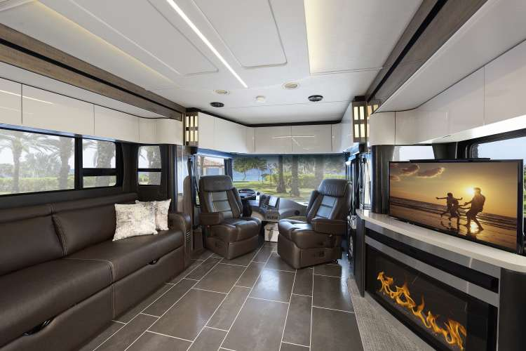 The interior of the new 2020 Winnebago Horizon 40A featuring mica decor with smoke cabinetry.