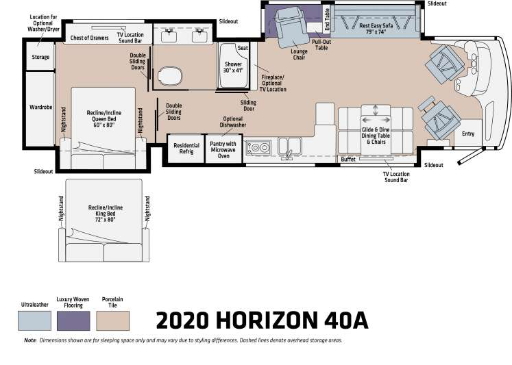 The floorplan of the 2020 Horizon 40A featuring a double sink vanity, wardrobe, and a queen-sized bed.