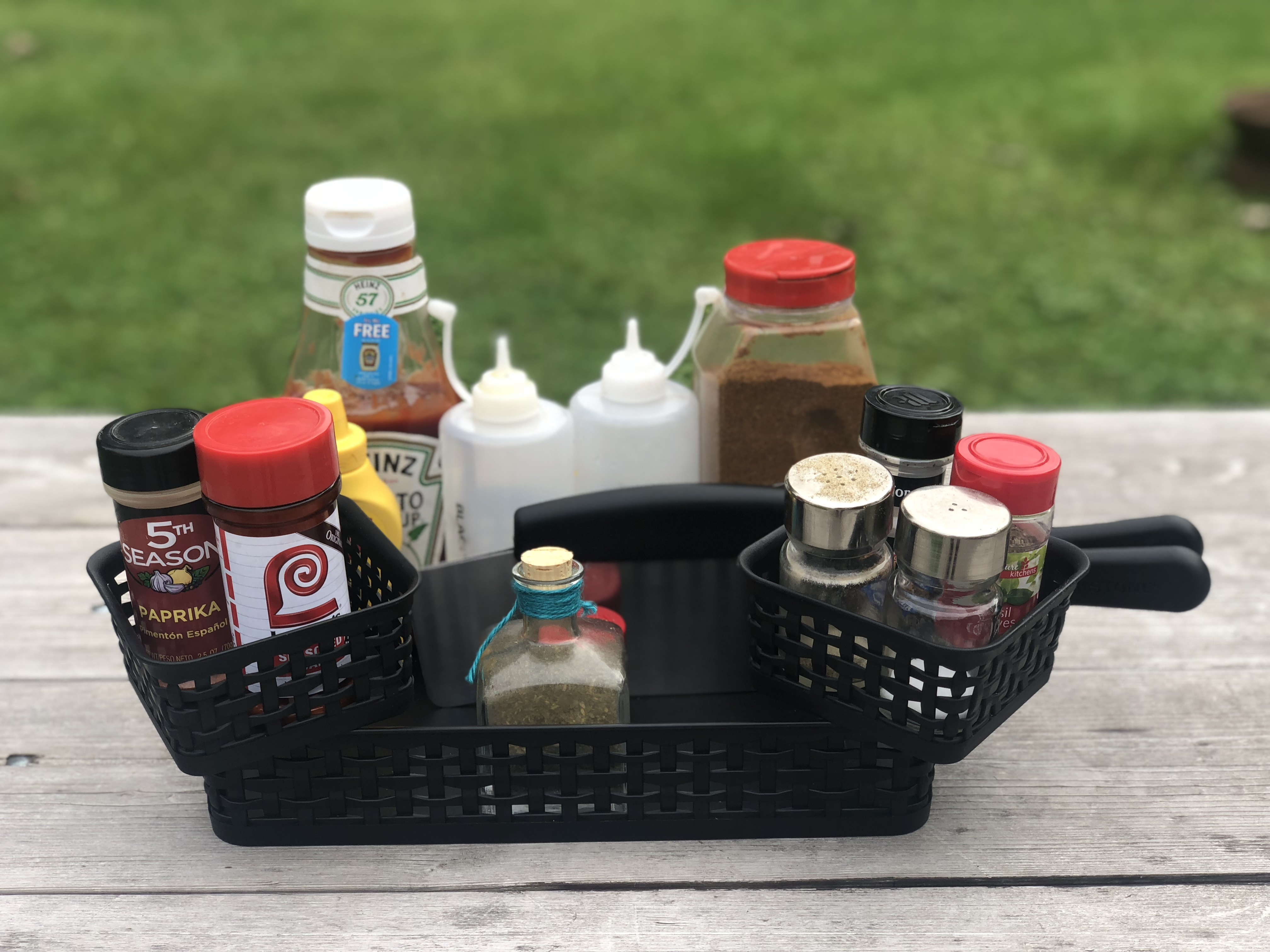 Use a kitchen organizer to store your ingredients when cooking outside