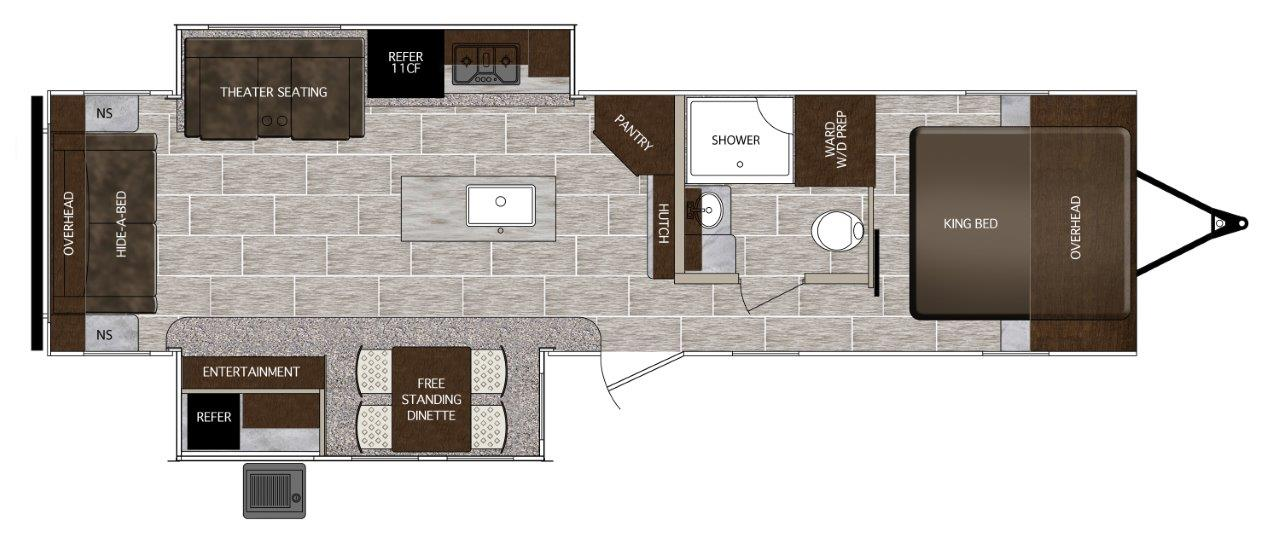 Floorplan of Prime Time RV LaCrosse 3299SE with king bed
