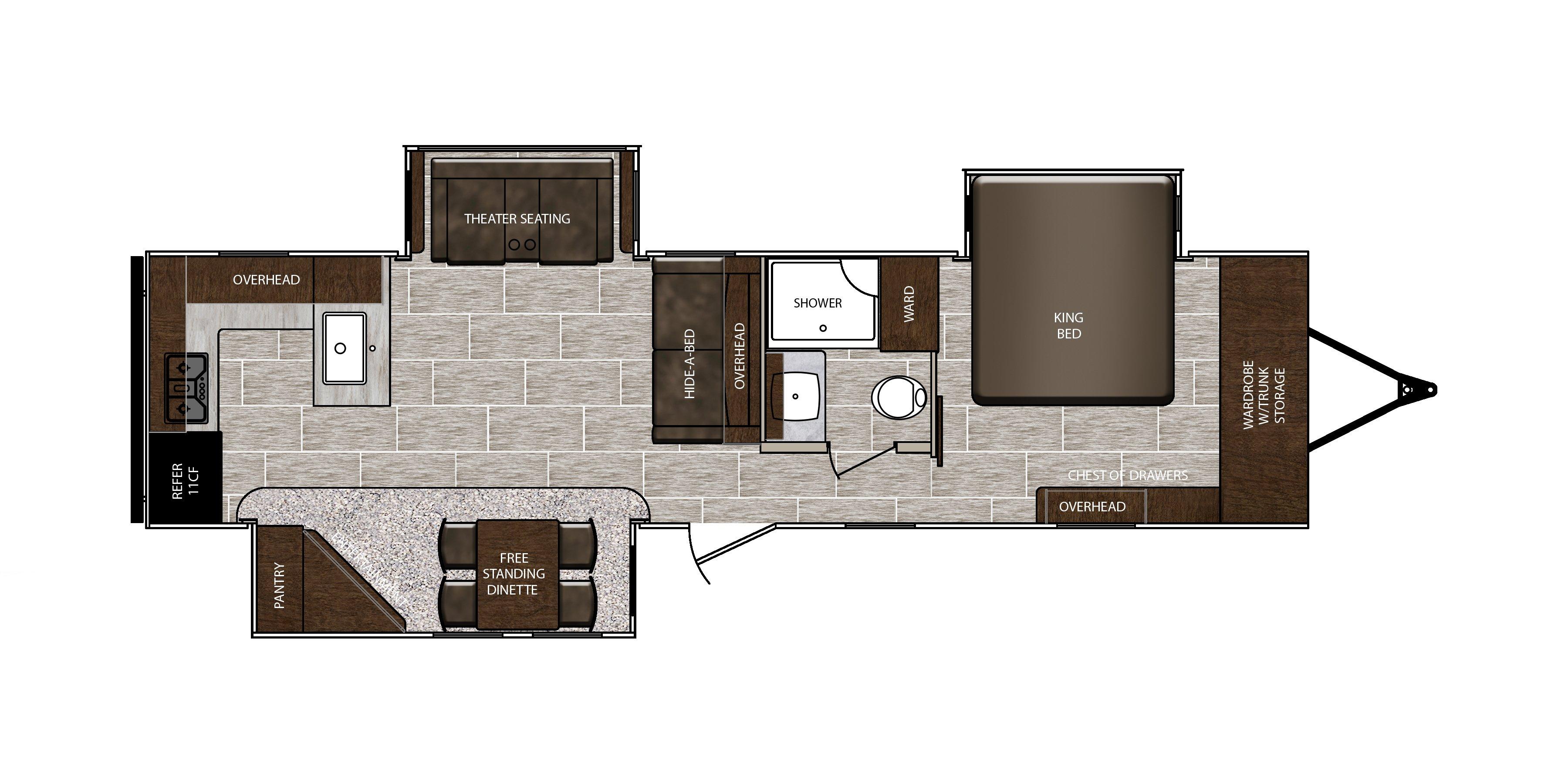 Prime Time LaCrosse 3311RK floorplan with rear kitchen