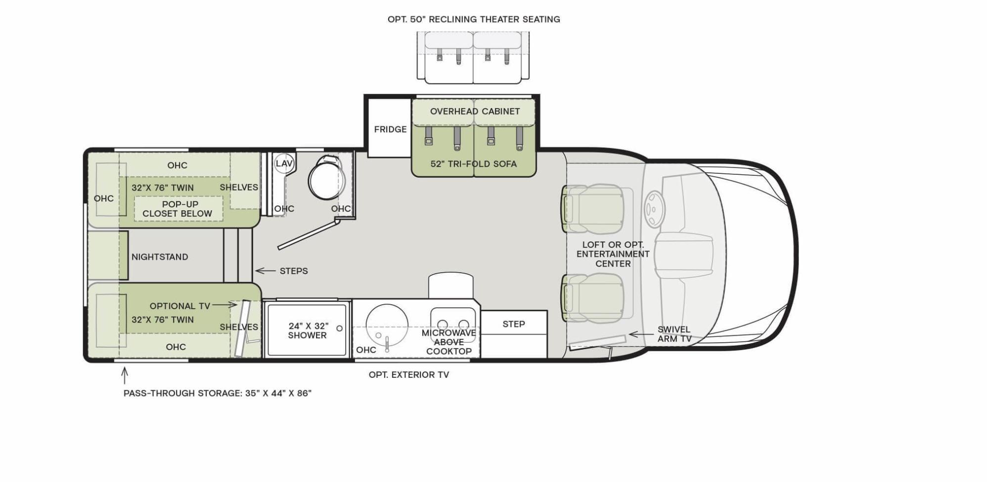 Tiffin Wayfarer Class C motorhome 25LW floorplan