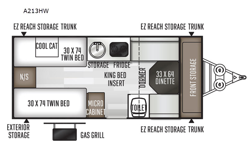 Floorpan of 2021 Forest River RV Rockwood Hard Side High Wall Series A213HW