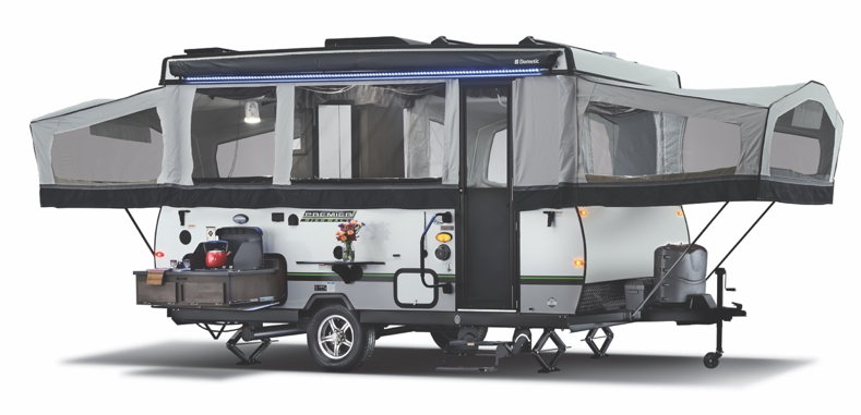 This is the exterior of the 2020 Rockwood High Wall Series folding pop-up camper.