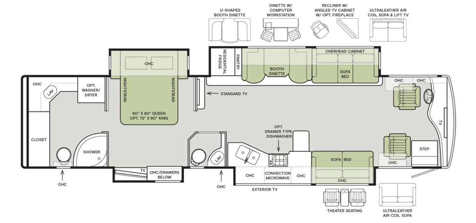 The floorplan of the Tiffin Phaeton 40 QBH.