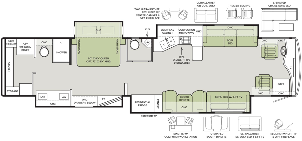 The floorplan of the 2020 Tiffin Phaeton 44 OH featuring a bath and a half.