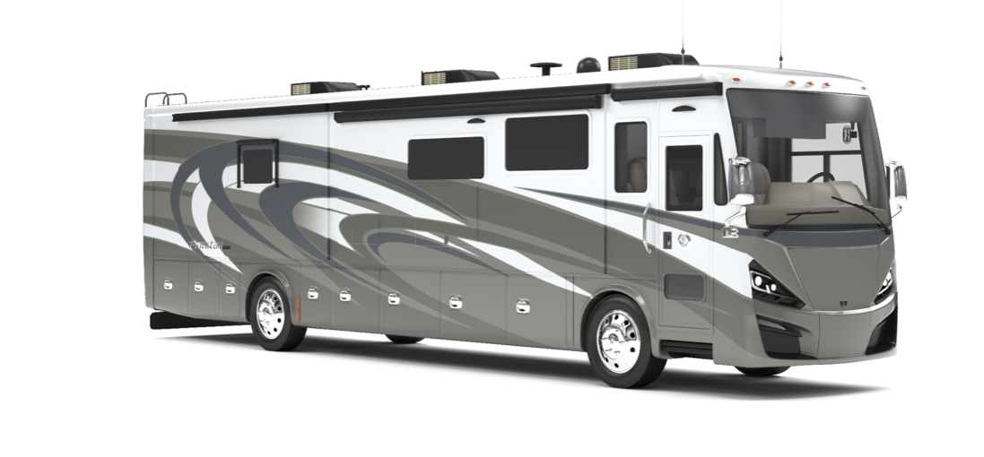 The exterior of the 2020 Tiffin Phaeton with BASF paint, in Frosted Granite.