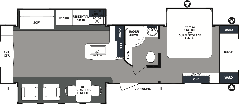 The floorplan of the Forest River RV Surveyor 33KRETS featuring a kitchen, rear entertainment and a triple bunk.