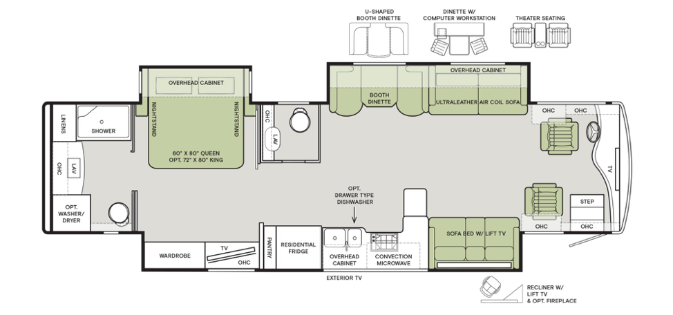 The floorplan of the 2020 Phaeton 37 BH featuring a full and a half bath.