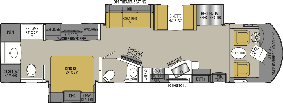 The floorplan of the Coachmen RV Sportscoach 404RB featuring a rear bathroom and bedroom.
