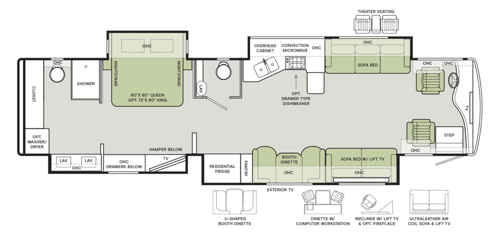 The floorplan of the Phaeton 40IH featuring residential kitchen amenities.