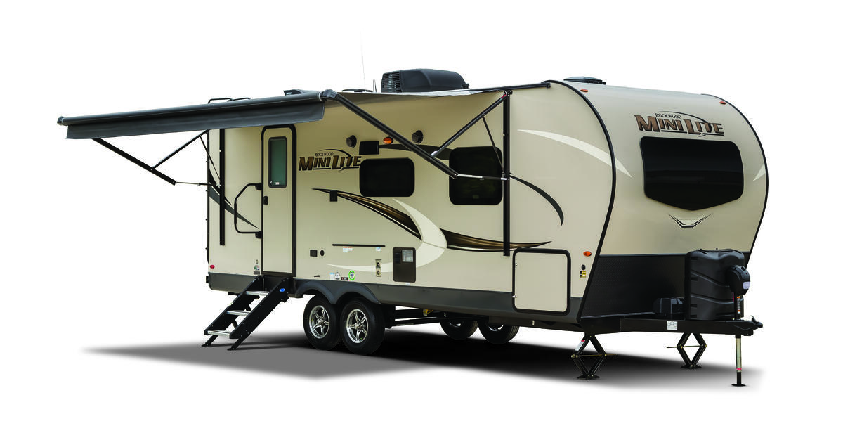 The exterior of the 2020 Rockwood Mini Lite travel trailer featuring a retractable awning.