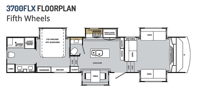 This is the floor plan of the 2020 Forest River Cardinal Luxury 3700FLX. The fifth wheel has a front living room for a comfortable but luxurious feel.