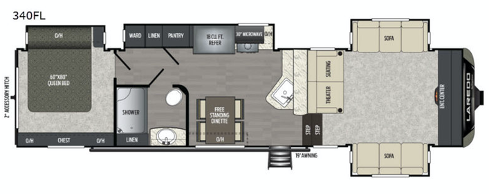 The floor plan of the new 2020 Keystone Laredo 353FL Fifth Wheel featuring a front living room and master bedroom.