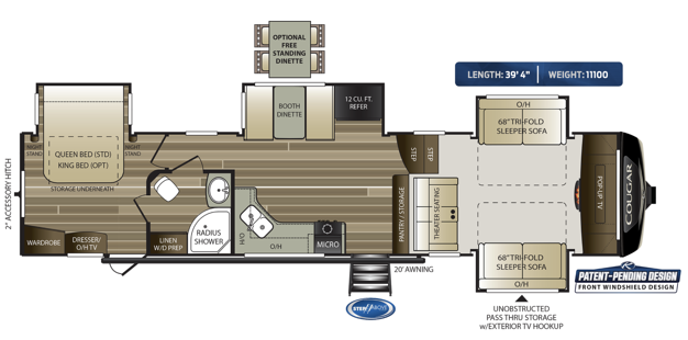 The 2020 Keystone RV Cougar fifth wheel 367FLS features a dual entry bathroom, a spacious front living room and a front windshield design.