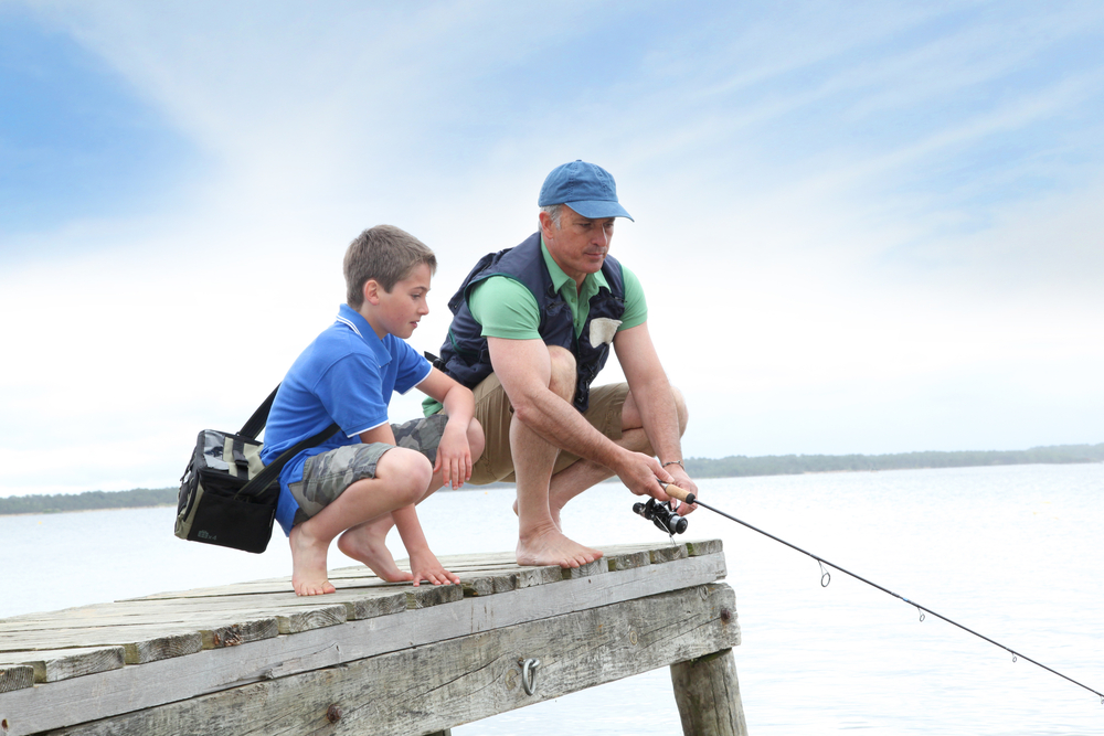 Family fishing at Lake Norman State Park, North Carolina