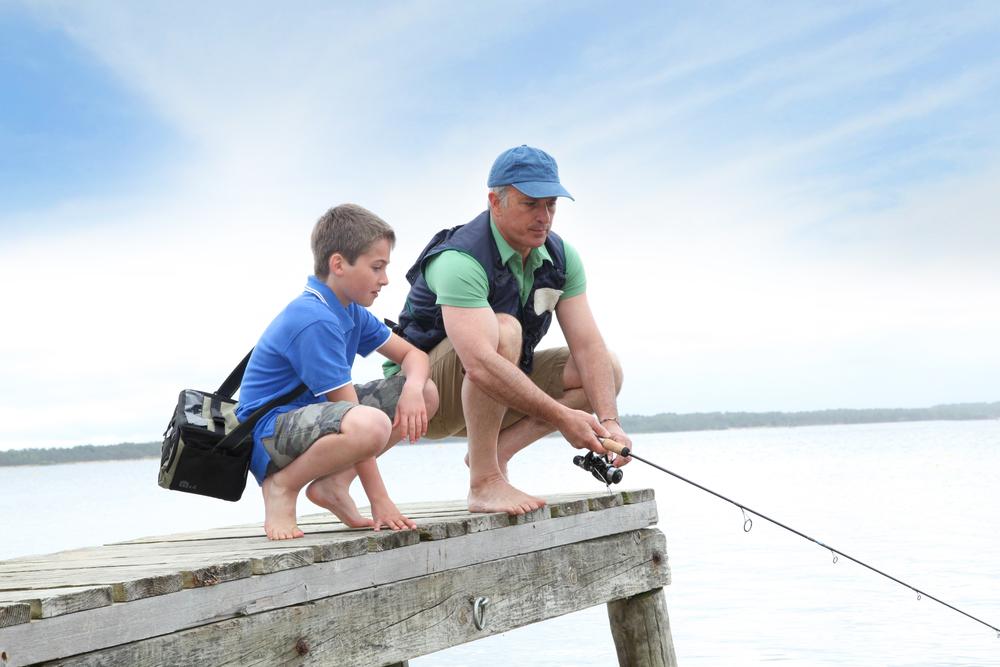 Family fishing at Lake Norman State Park, North Carolina