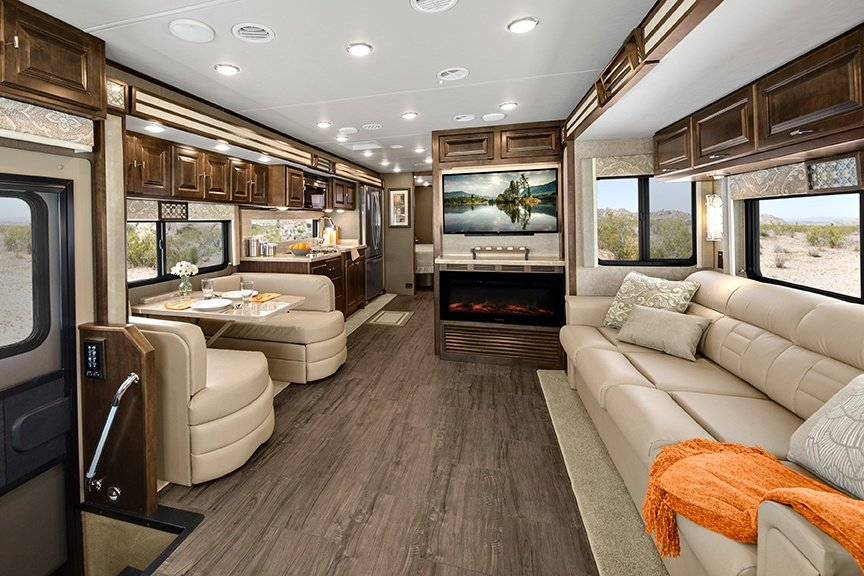 Interior living room of Tiffin Open Road Allegro Class A motorhome