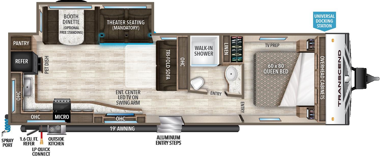 Grand Design Transcend 28MKS flooplan with rear kitchen