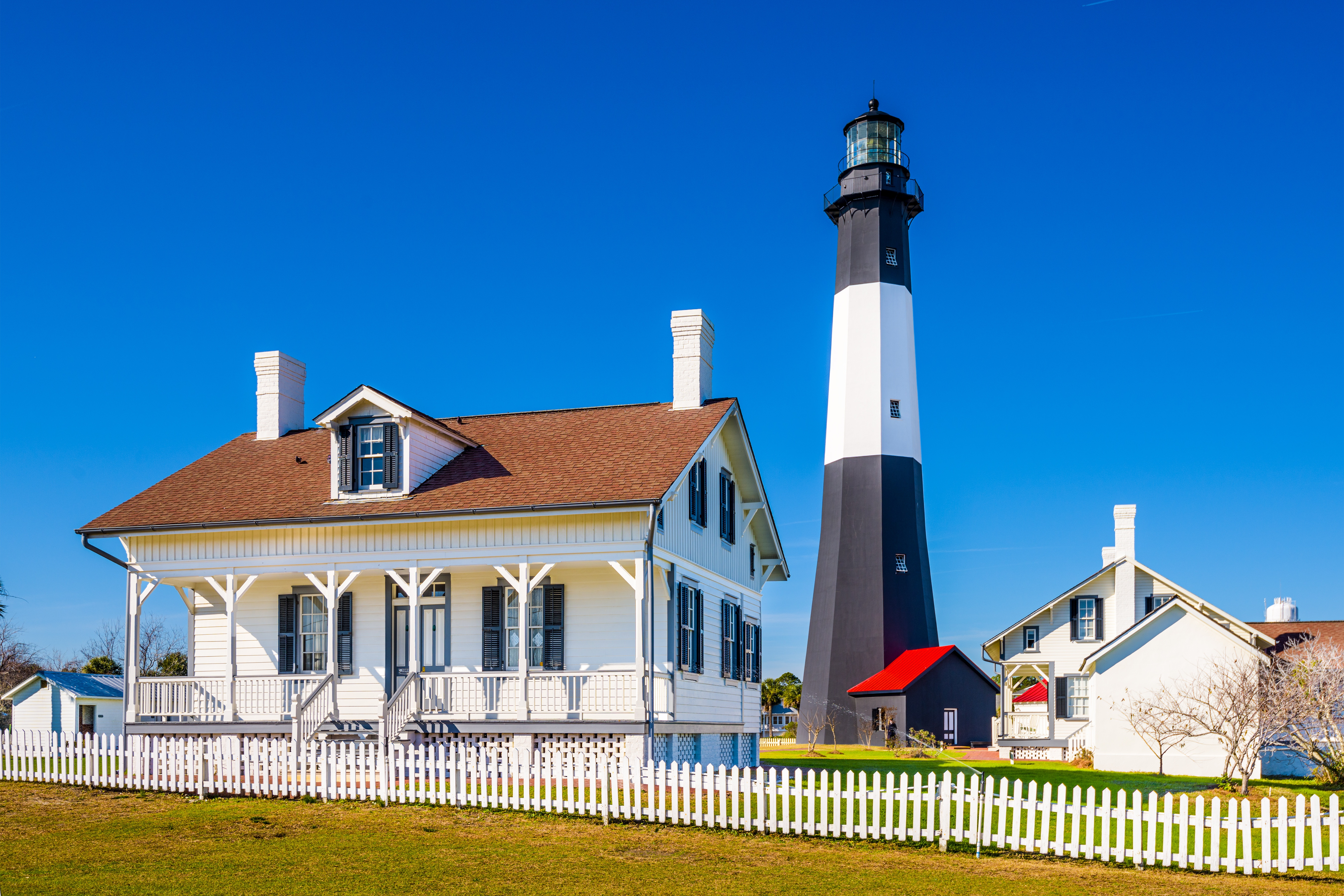 Tybee Island Lighthouse is a popular attraction near Savannah, Georgia for RV snowbirds traveling down I-95 to Florida