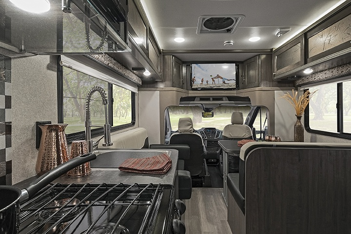 Interior kitchen of Winnebago Fuse Class C motorhome