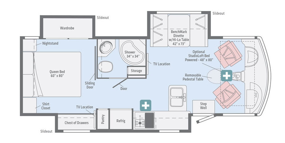 winnebago adventurer class a motorhome floorplan options