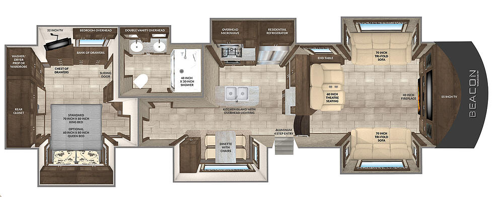 Birds-eye view floorplan of the Beacon 40 FLB