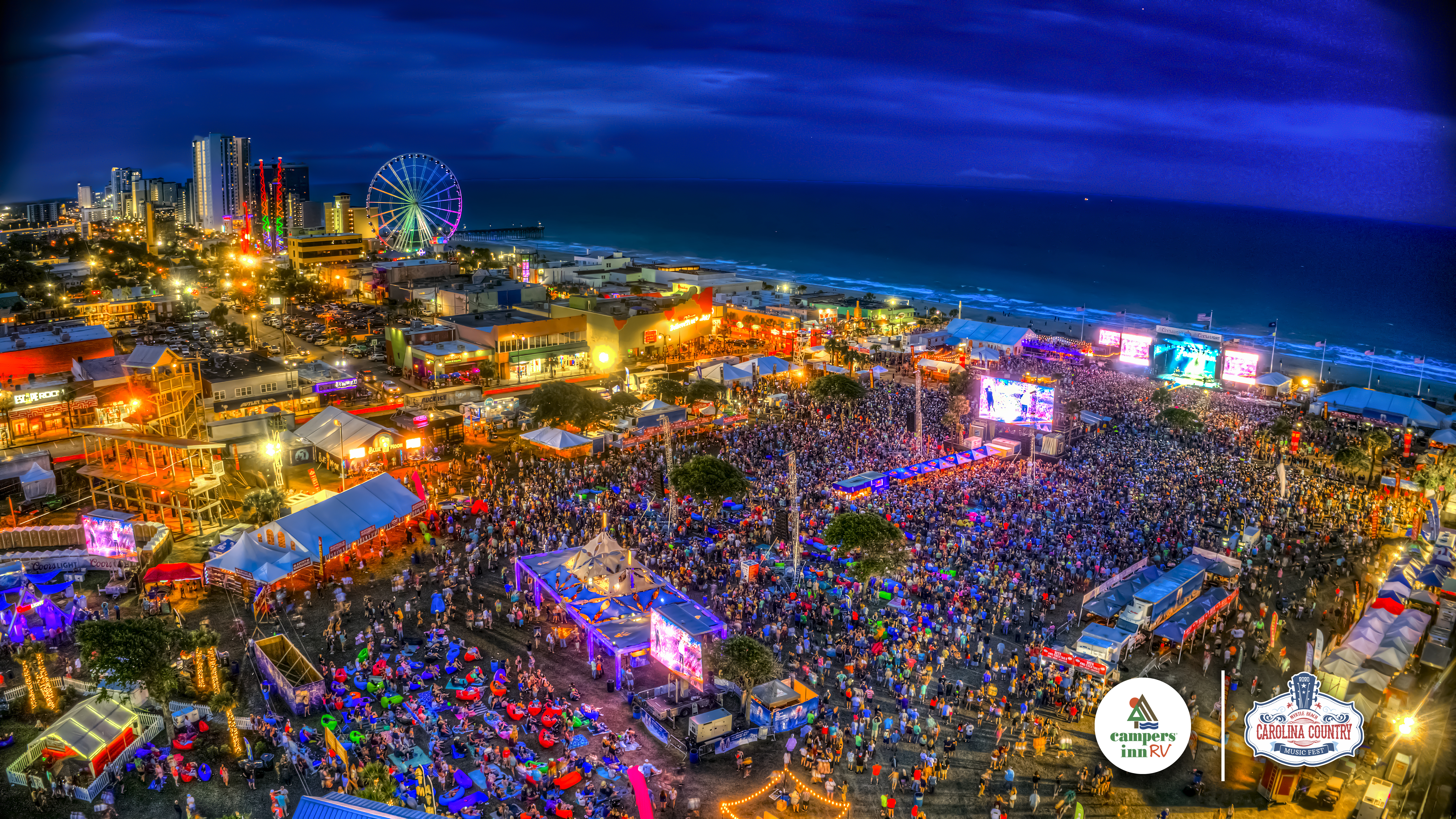 drone shot of 2019 Carolina Country Music Fest in Myrtle Beach, SC.