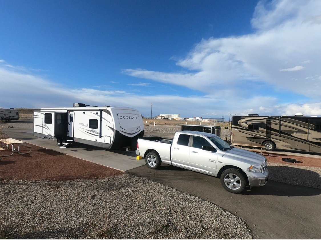 In the football offseason, the Browns travel the country in their Keystone Outback travel trailer