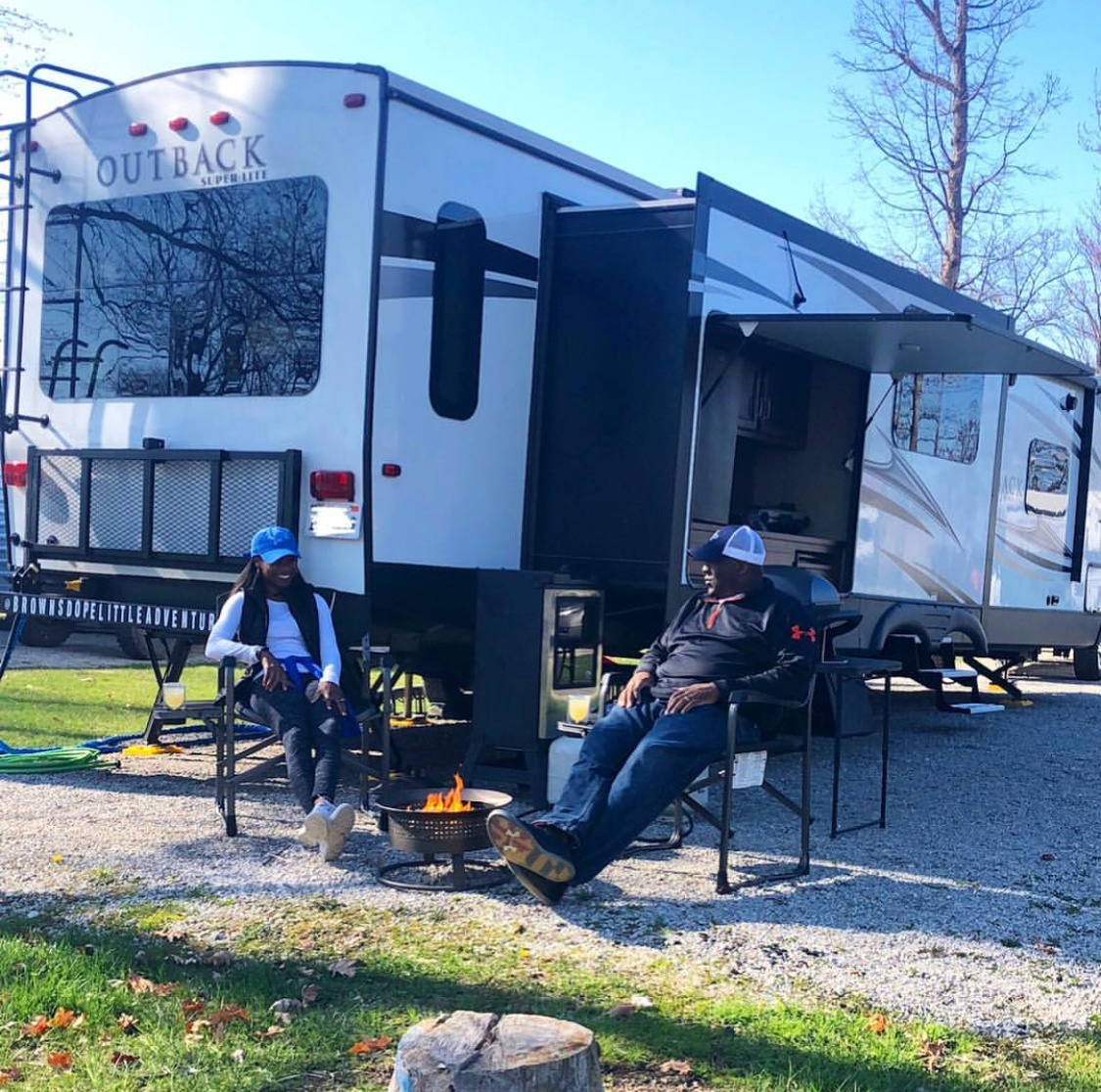The Browns enjoy outdoor cooking, sitting by the fire pit and having fun with the local RV community