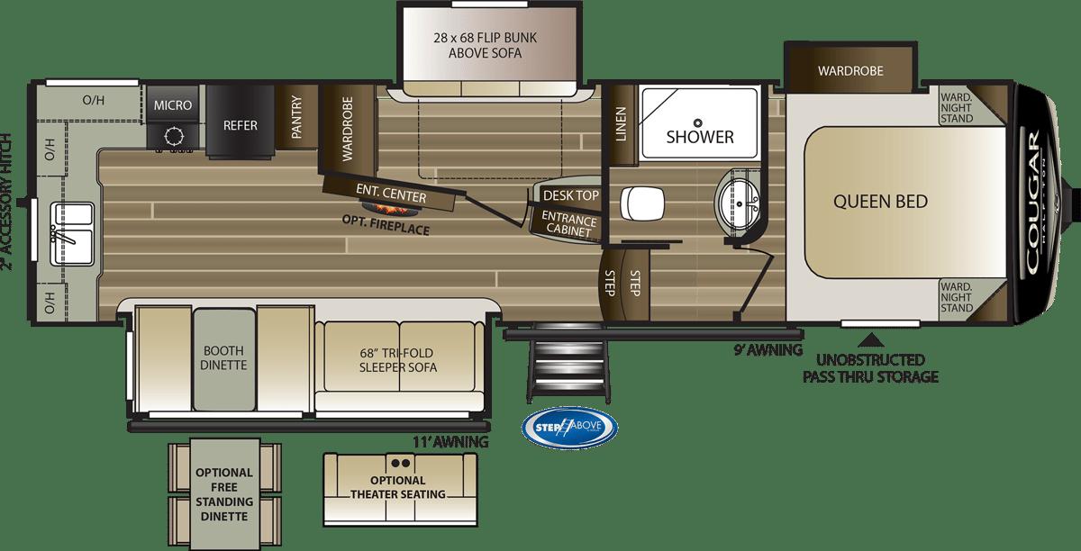 Keystone RV Cougar Half Ton 29MBS Floorplan