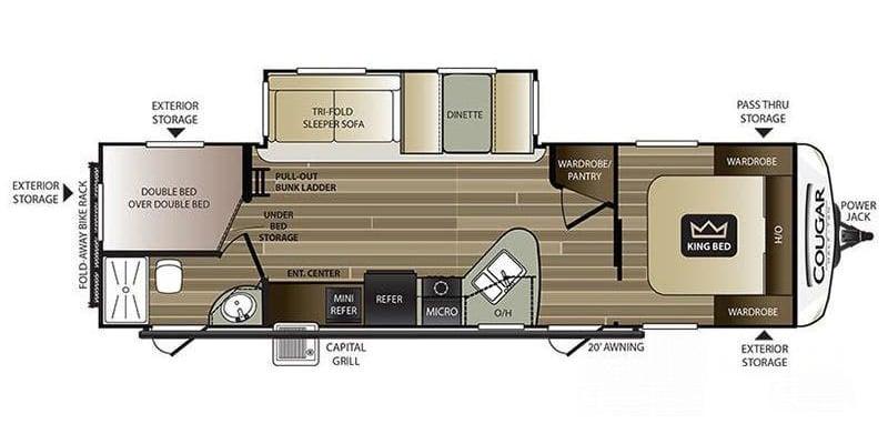 Floorplan of Keystone RV Cougar Half-Ton Series 29BHS with king bed