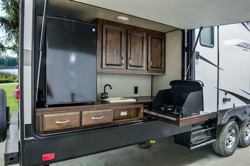 cruiser rv embrace travel trailer exterior kitchen