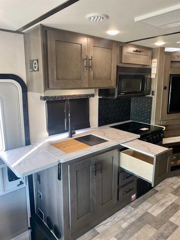 forest river fr3 34ds class a motorhome kitchen