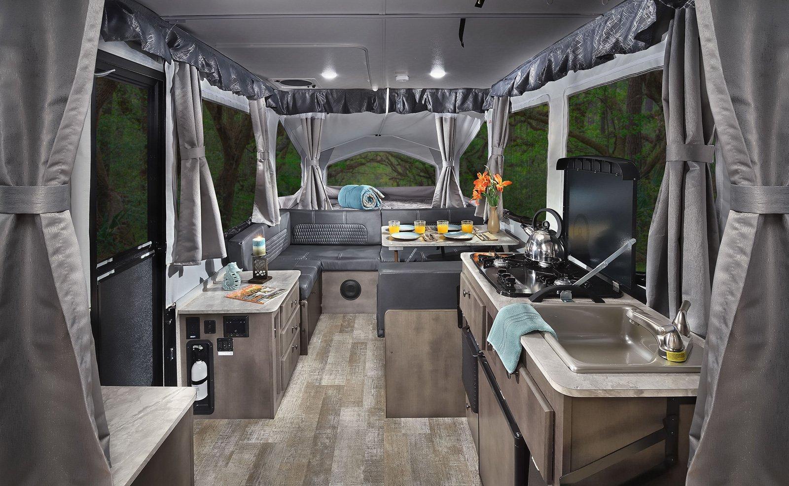 forest river rockwood exterme sports pop up camper interior