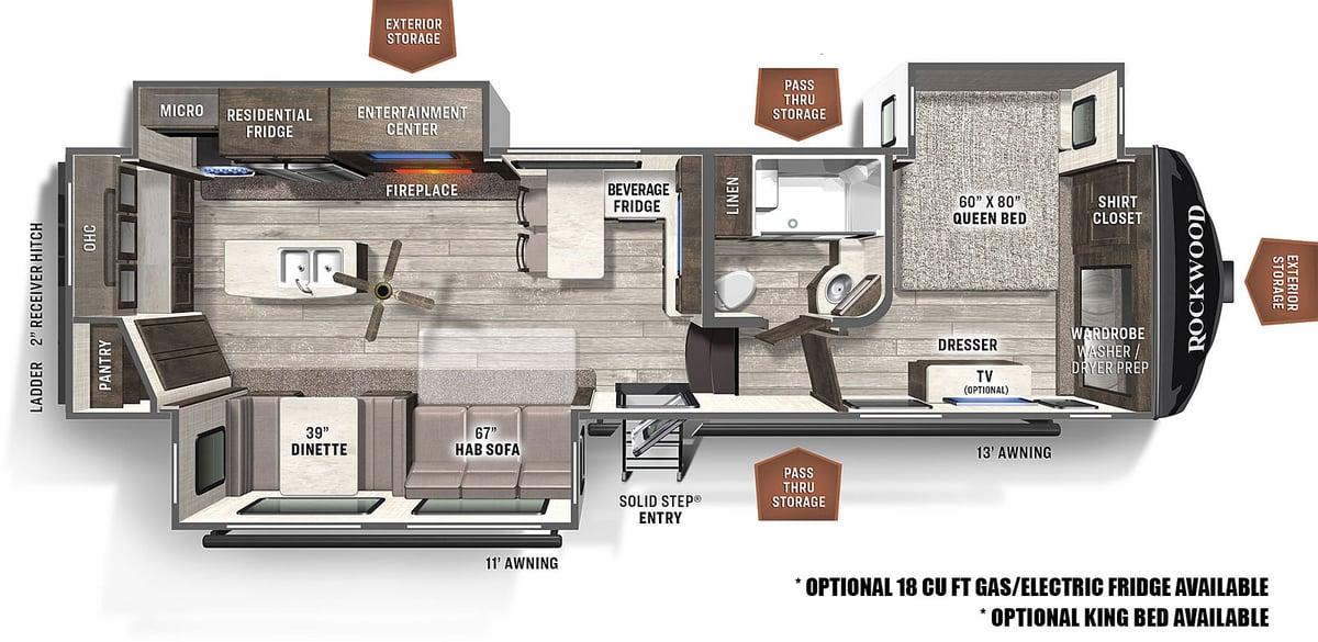 forest river rockwood ultra lite fifth wheel floor plan