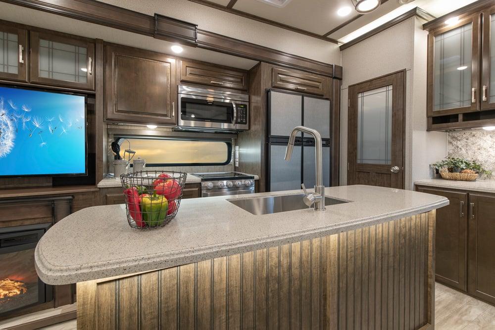 grand design solitude s class fifth wheel kitchen