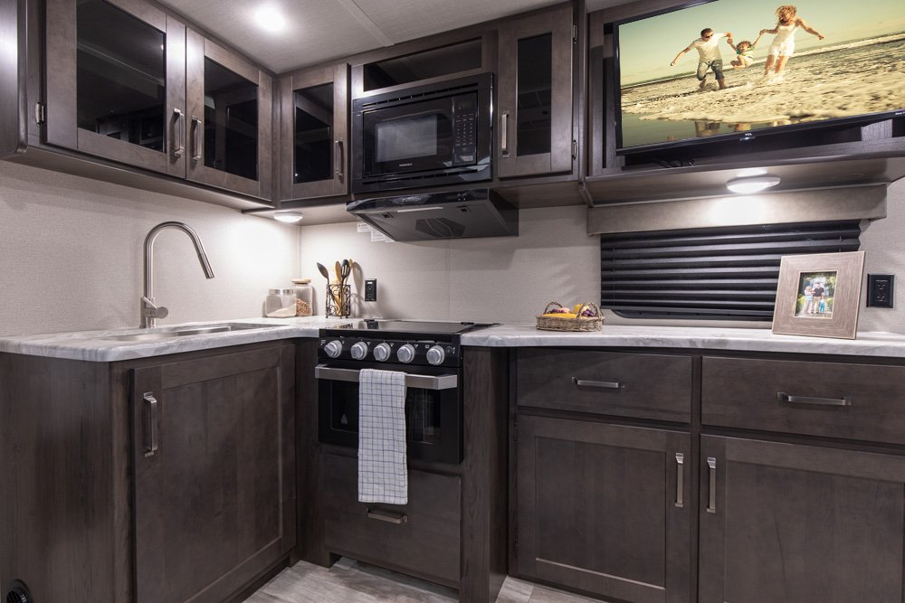 grand design trascend xplor travel trailer kitchen